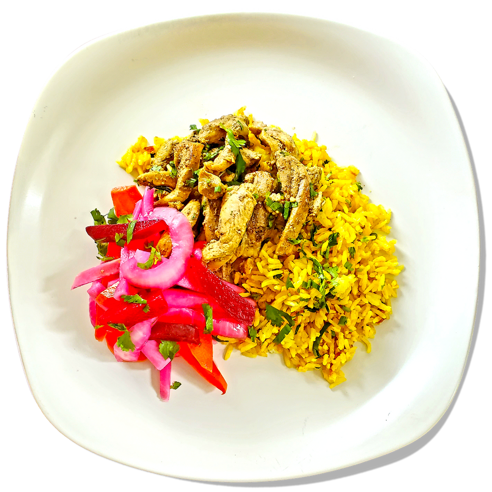 Chicken Shawarma w/ Tomato-Turmeric Rice & Pickled Vegetables
