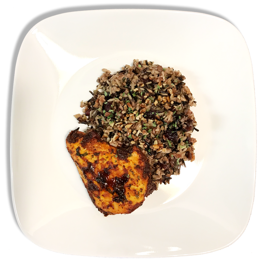 Cranberry Pecan Wild Rice and Spicy Oven Baked Chicken