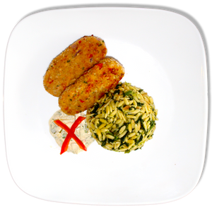 Salmon Croquettes with Remoulade and Spinach Orzo