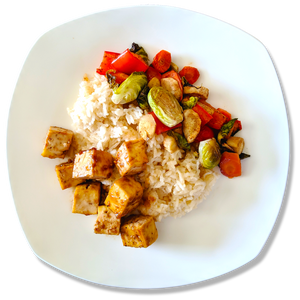 Miso Ginger Glazed Tofu with Maple Roasted Vegetables