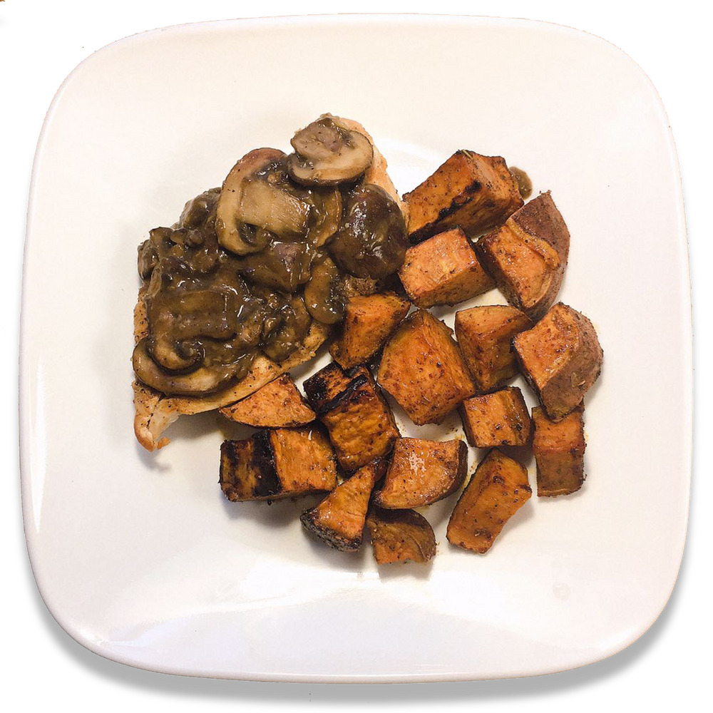 Pan Sauce Mushroom Chicken and Sweet 'n spicy Potatoes