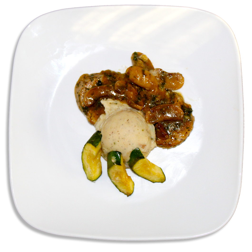 Pork Marsala W/ Savory Mashed Potatoes & Roasted Zucchini [R]