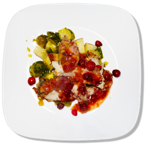 Roasted Turkey Breast in Cranberry Sauce with Roasted Brussel sprouts and potatoes