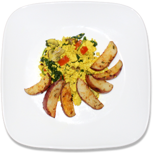 Michigan Tofu Scramble with Oven Fries [VG]