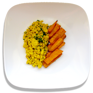 Tofu Scramble with Sweet Potato Fries