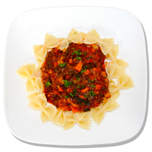 Vegan Chick Pea and Black Lentil Bolognese with Bow Tie Pasta