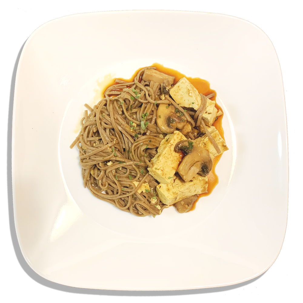 Vegan Curry Soba Noodles and Tofu