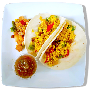 Vegan Tofu Breakfast Taco w/ Potato Hash & Fresh Salsa [VG]