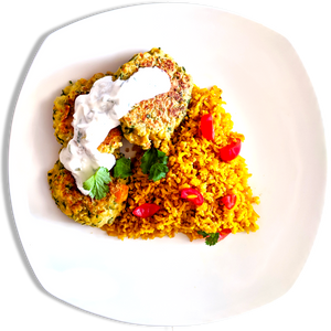 Vegetarian Falafel with Tzatziki and Spiced Rice