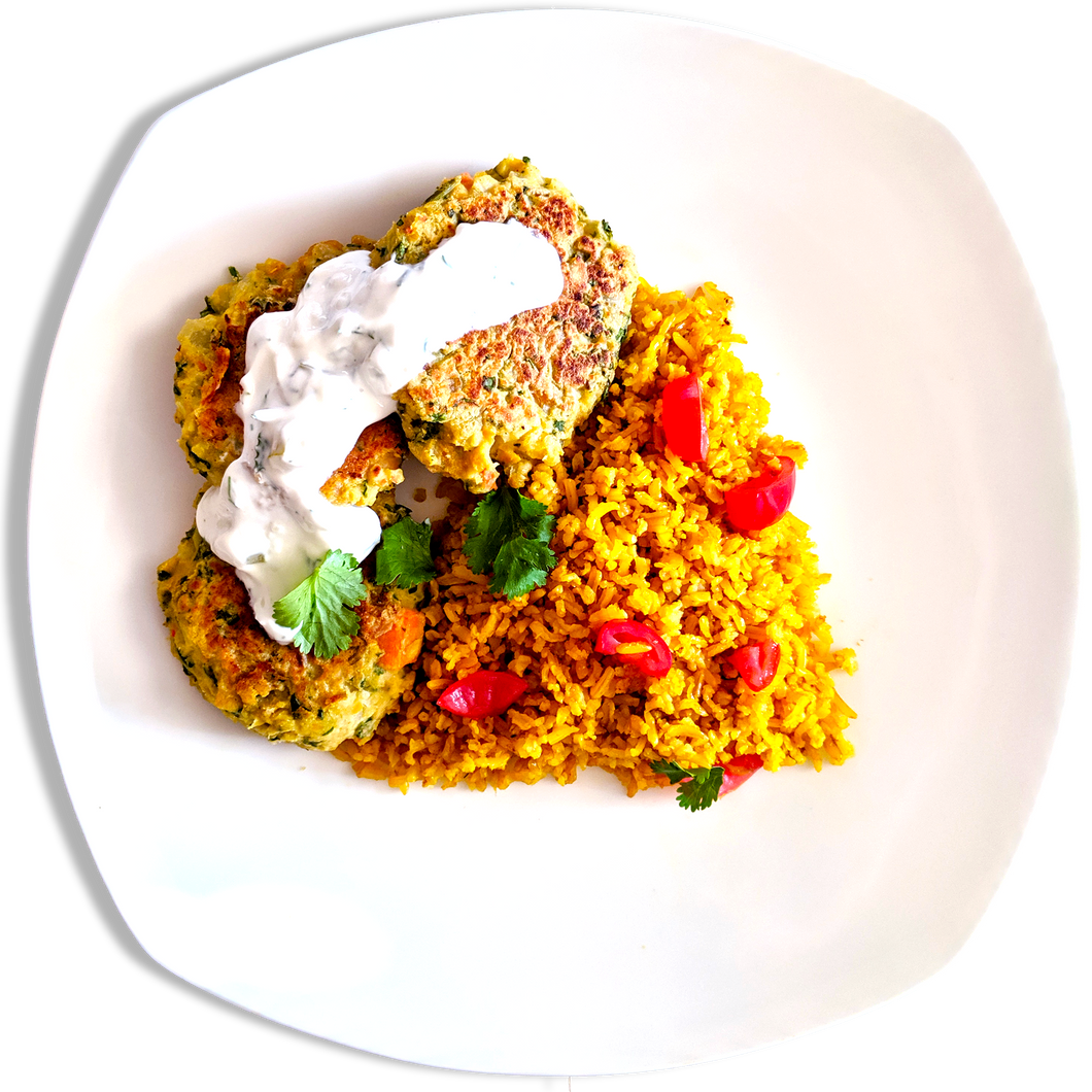 Vegetarian Falafel with Tzatziki and Spiced Rice [VT]