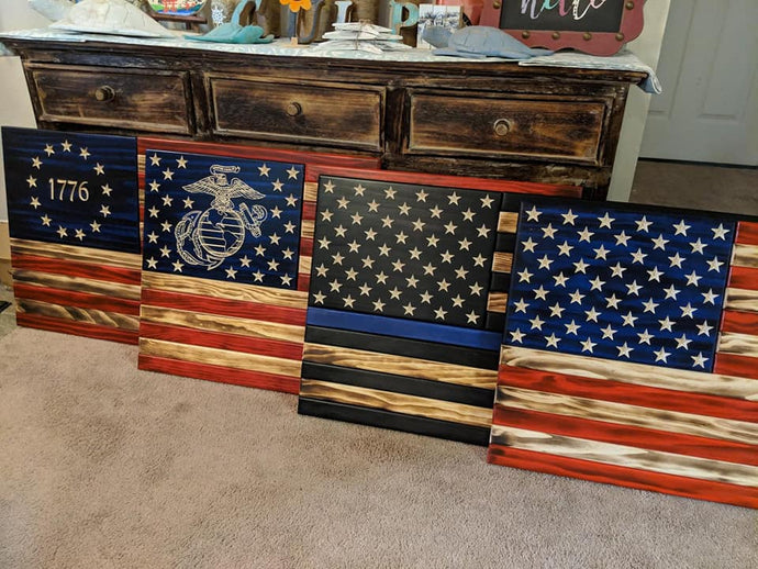 Veteran Made Rustic Flag