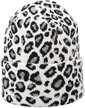 Load image into Gallery viewer, Leopard print Beanie Hat White
