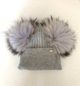 Child Fox Grey double Pom Pom Benie