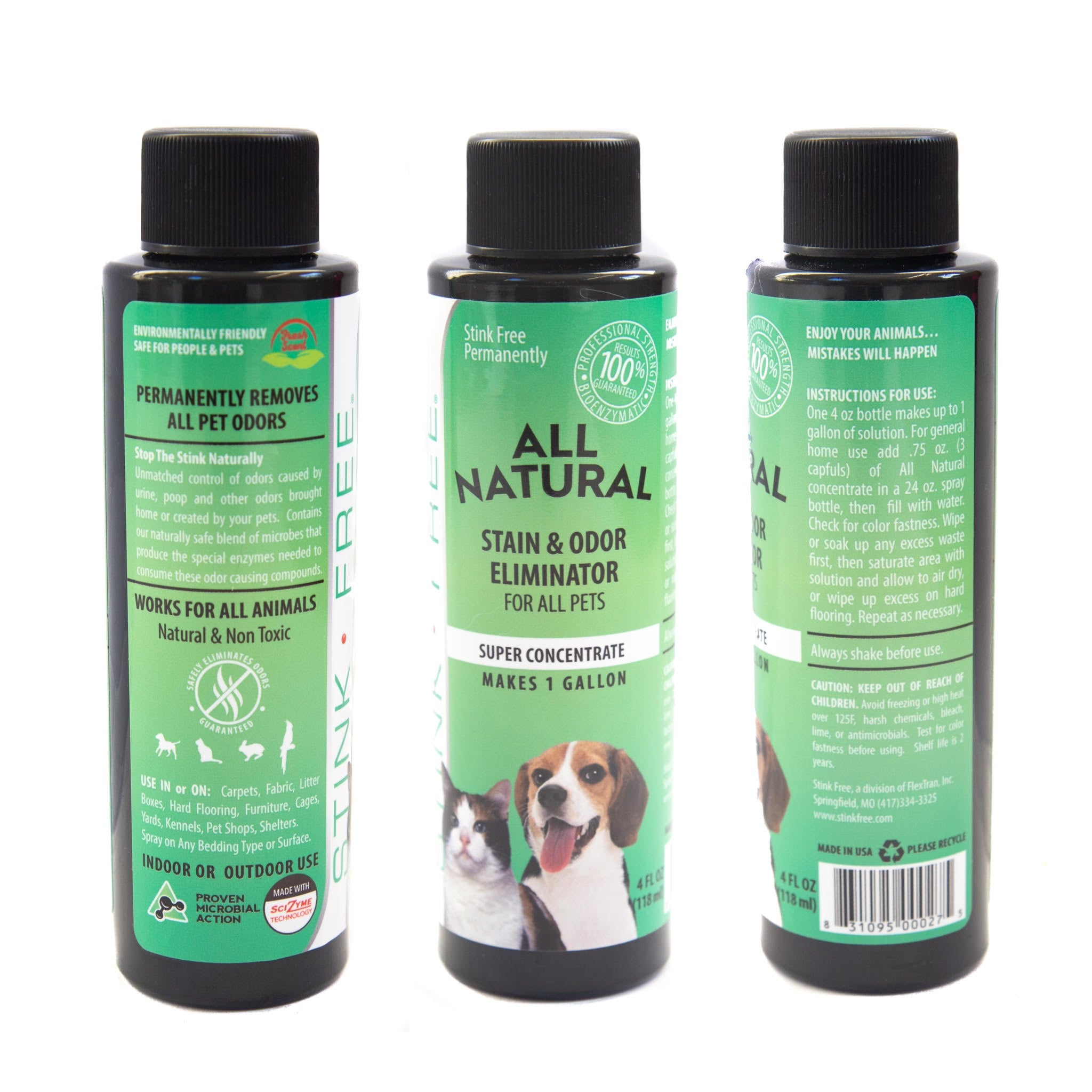 All Natural Stain & Urine Odor Eliminator for Pets, Makes 1 Gallon of Solution (Empty 24 oz. Sprayer Included)
