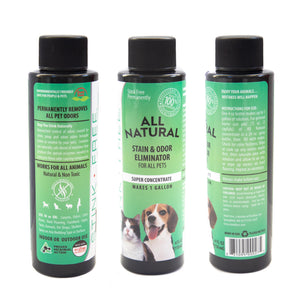 All Natural Stain & Urine Odor Eliminator for Cats & Dogs, Makes 1 Gallon of Solution, Enzyme Based Pee Cleaner Destroyer for Carpets, Rugs, Mattress, Litter Box, Ect. (Empty 24 oz. Sprayer Included)