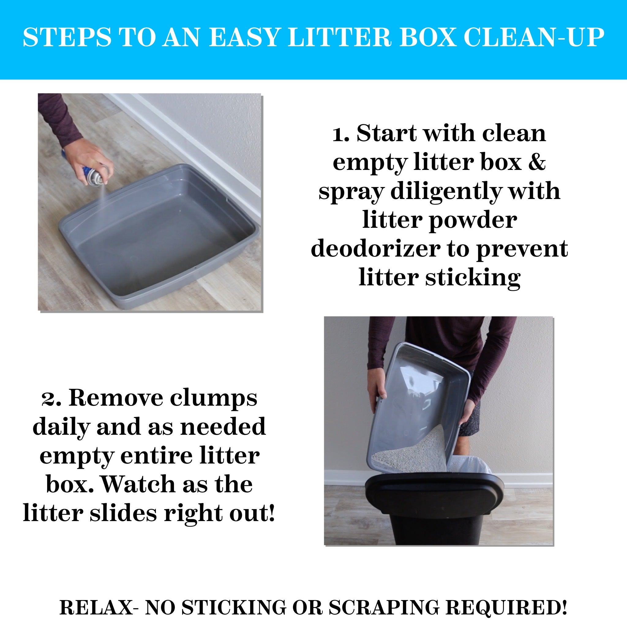 Cat Litter Box Deodorizer Powder Spray & Odor Eliminator - Non-Stick Kitty Litter Box Deodorizer