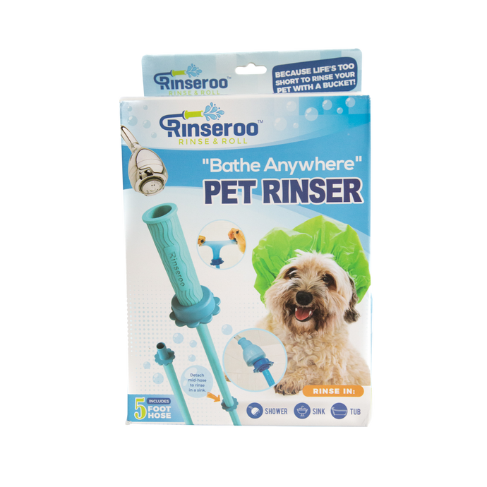 Rinseroo: Slip-on, No-Install, Dog Wash Hose Attachment. Pet Bather for Showerhead and Sink