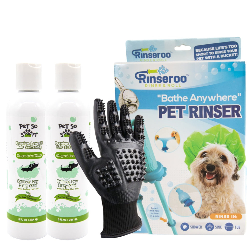 The Ultimate Shower Pack - Shower/Grooming Gloves, Rinseroo, 2 bottles of Hair Softening Shampoo & Conditioner!