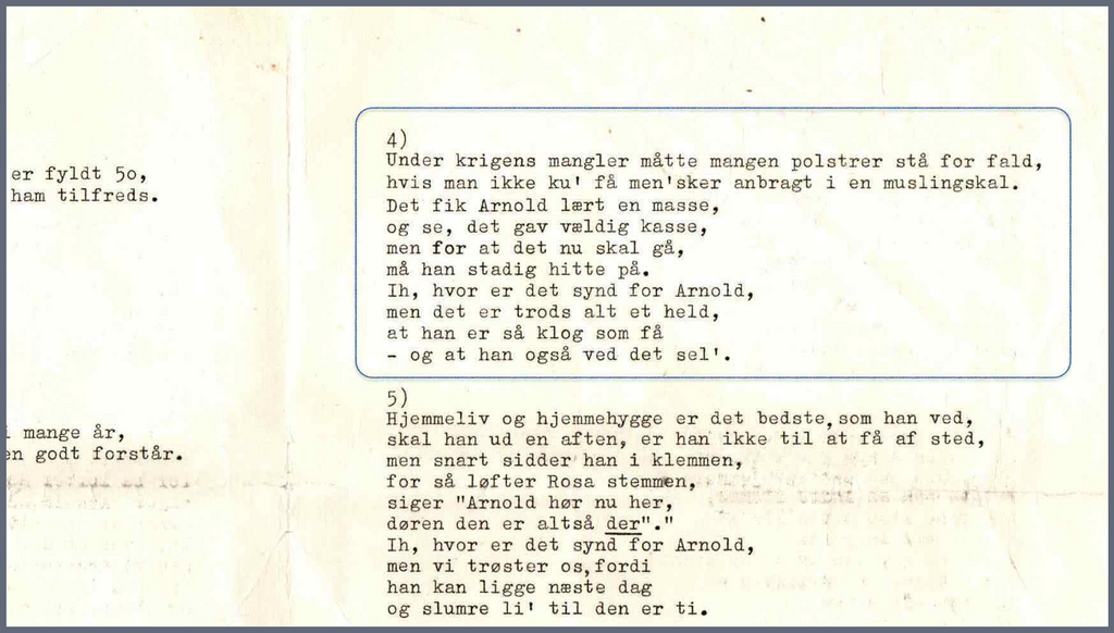 Arnold Madsen, Clam Chair, song text