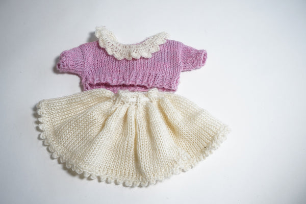 Hand knitted skirt and top set