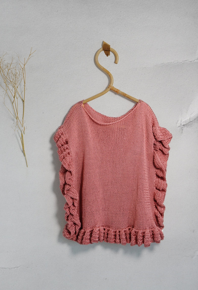 Handknitted cotton frill top
