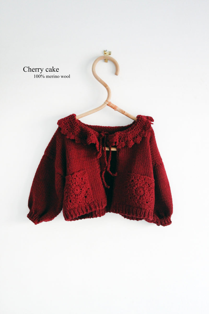 Cherry love merino cardigan