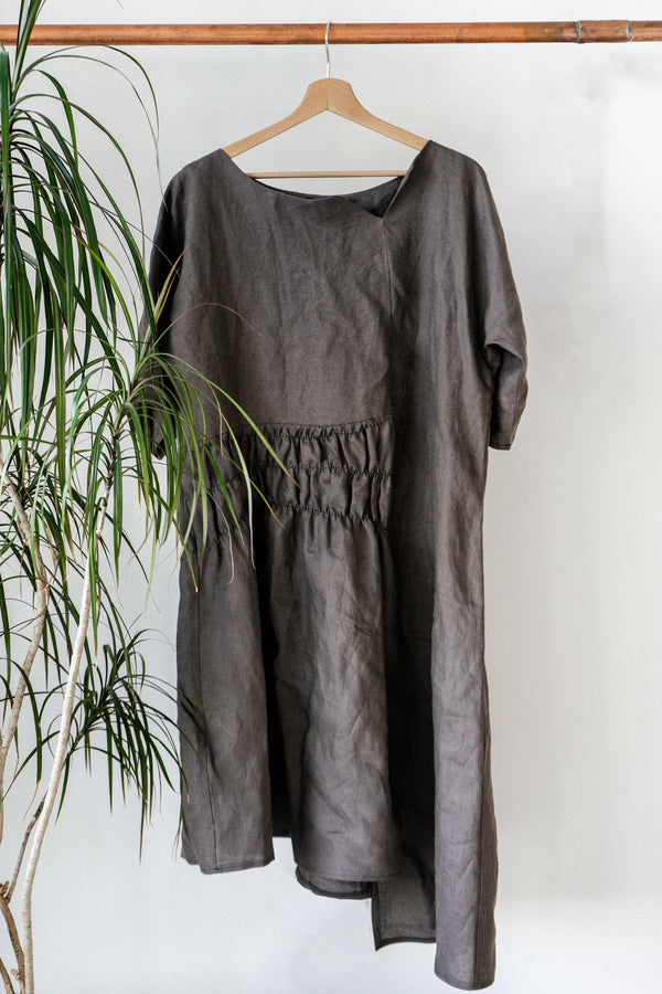 Asymmetrical linen dress