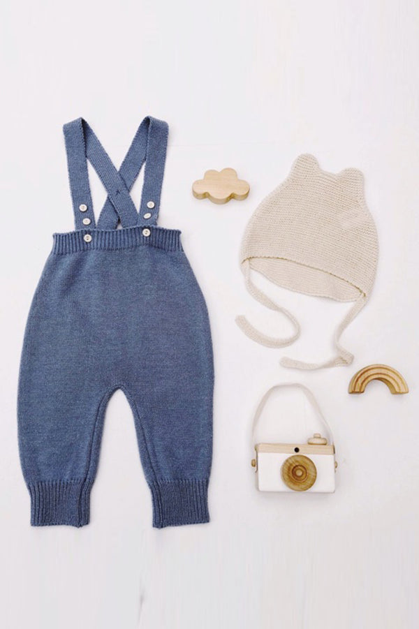 Knit Suspender Pants (Blue)