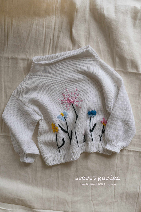 Secret garden hand knitted cotton sweater