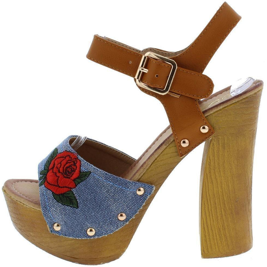 Women's Light Blue Denim Embellished Open Toe Chunky Platform Sandals