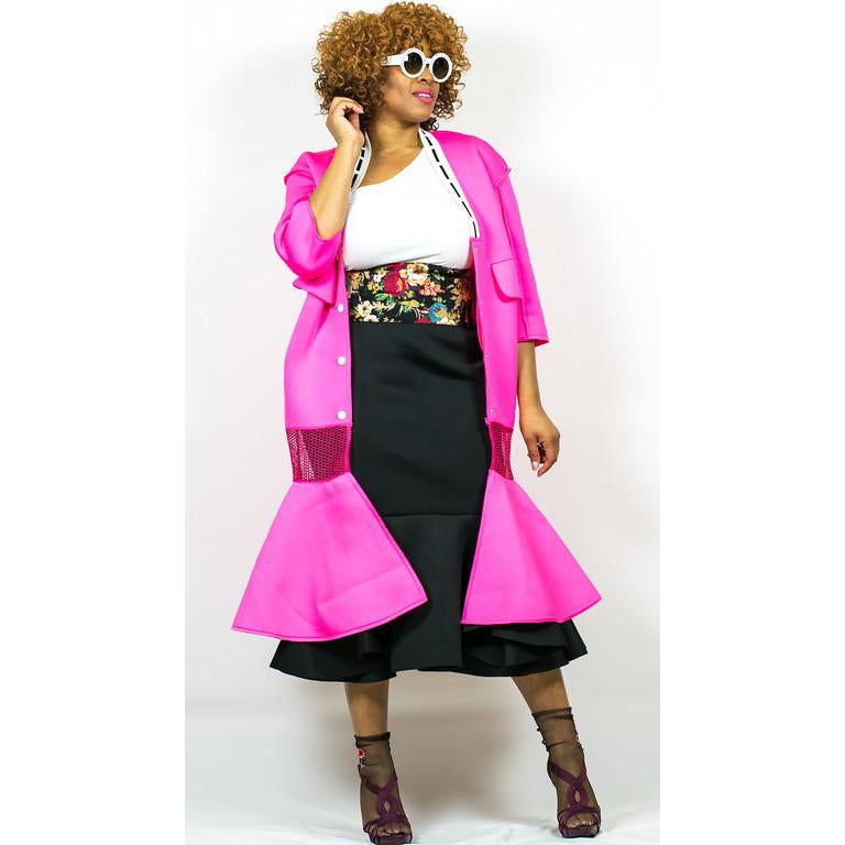 Women's Hot Pink V-neck Long Trench Ruffle Mermaid Coat