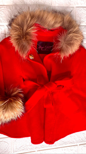 KIDS RED PONCHO X RACCOON FUR