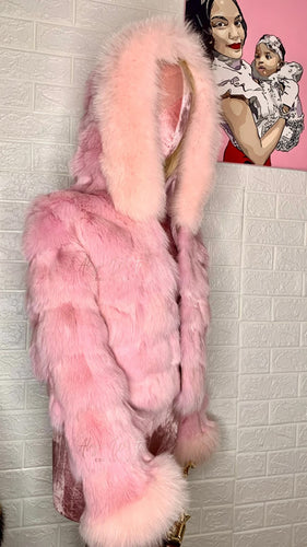 PRINCESS PINK COAT W/ FOX FUR TRIM