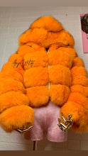 Load image into Gallery viewer, VIVID ORANGE FOX FUR BOMBER