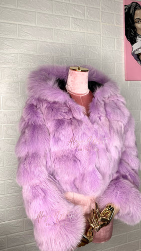 PURPLE REIGN COAT W/ FOX FUR TRIM