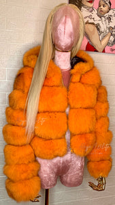 VIVID ORANGE FOX FUR BOMBER