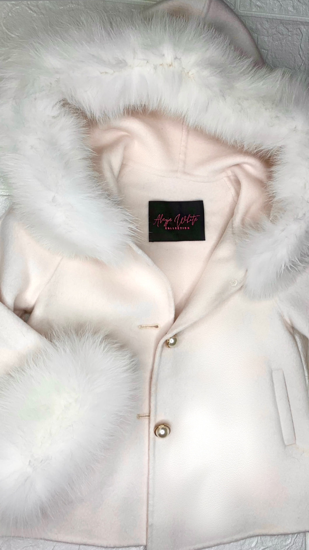 KIDS WHITE CASHMERE COAT