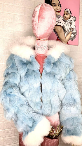 ICY BLUE COAT W/ FOX FUR TRIM