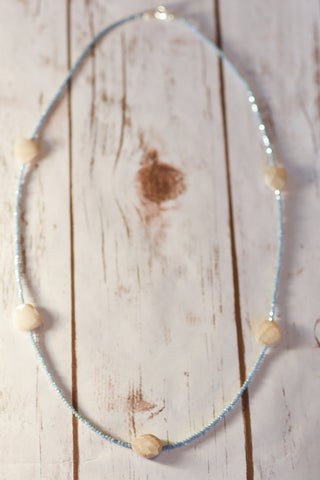 Moonstone Pillow & Dusty Blue Crystal Necklace