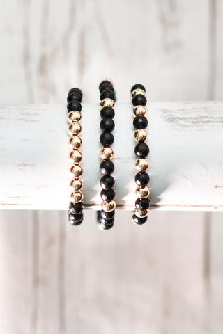 Matte Onyx & 14K Gold Filled Bracelet