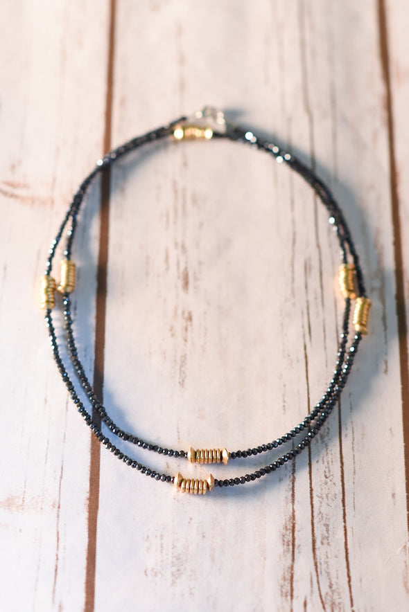 Brass Spacers & Charcoal Crystal Necklace