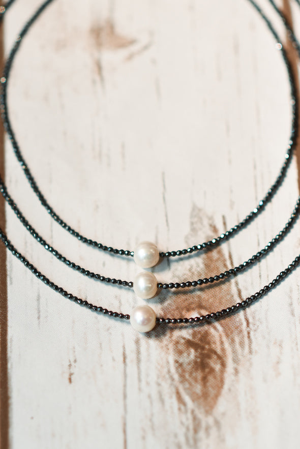 Floating Fresh Water Pearl & Hematite Choker