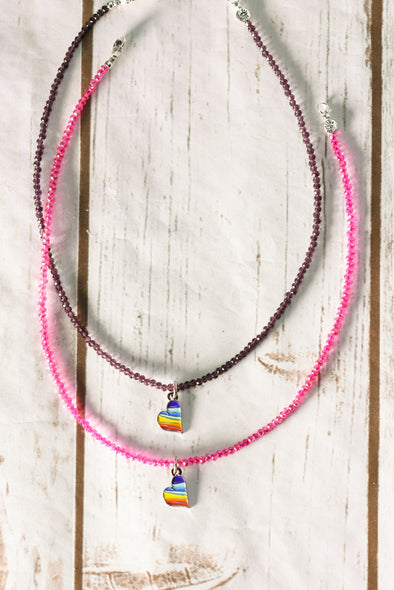 Draw For Paws Rainbow Heart Hot Pink Choker