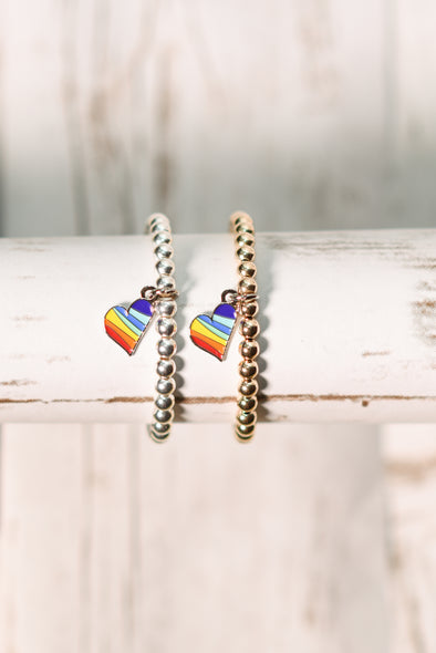 Draw For Paws 14K Gold Bracelet with Rainbow Heart Charm