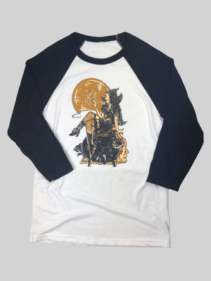 Pinup Witch Raglan Baseball Tee