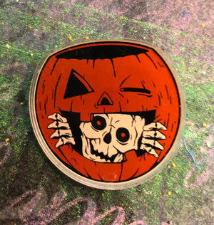 Skeleton Treat Pail Acrylic Pin