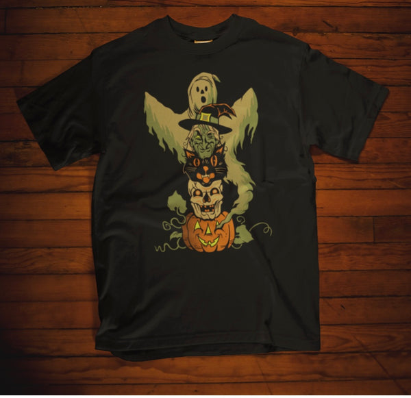 Halloween Character Totem Pole Tee w/ Ghost