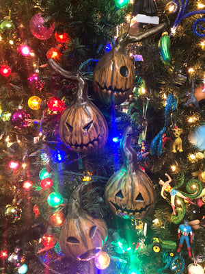 Set of 4 Pumpkin Christmas Tree Ornaments!