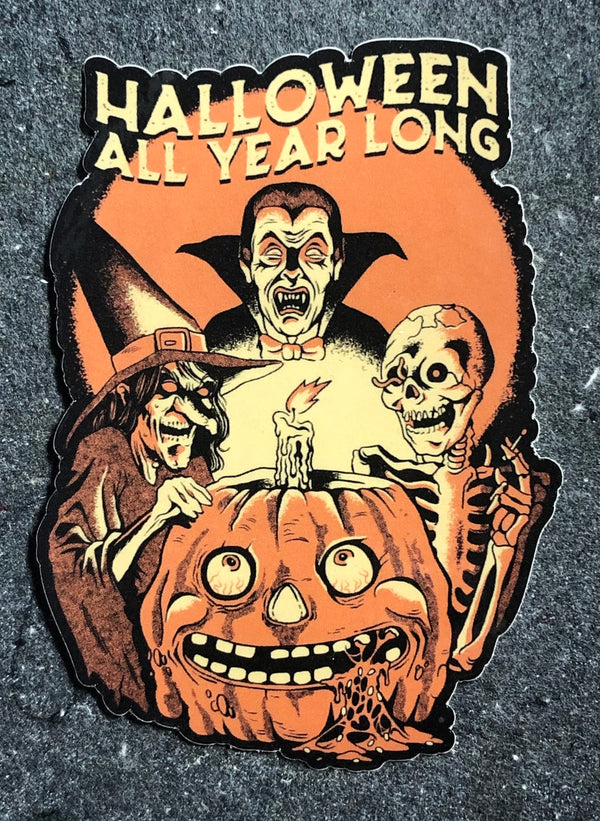 "Halloween All Year Long 4"" Sticker"