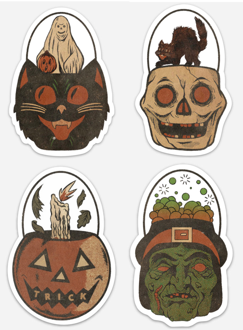 "4"" Trick or Treat Pail Sticker Pack Of 5"